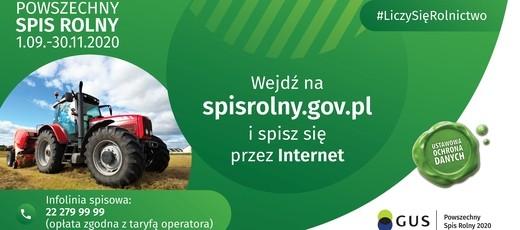 Przypominamy, że Powszechny Spis Rolny kończy się 30 listopada 2020 r.